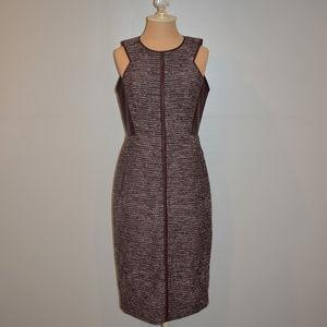 J. Mendel Sleeveless Tweed Leather Sheath Dress